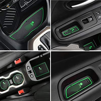 TOPPOWER Anti-dust Non-Slip Interior Door/Cup Mat Fit Renegade 2015-2020 16pcs (Green): Automotive