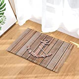 GoHeBe Nautical Decor old Wooden Anchor on a Wall Background Bath Rugs Non-Slip Doormat Floor Entryways Indoor Front Door Mat Kids Bath Mat 15.7x23.6in Bathroom Accessories