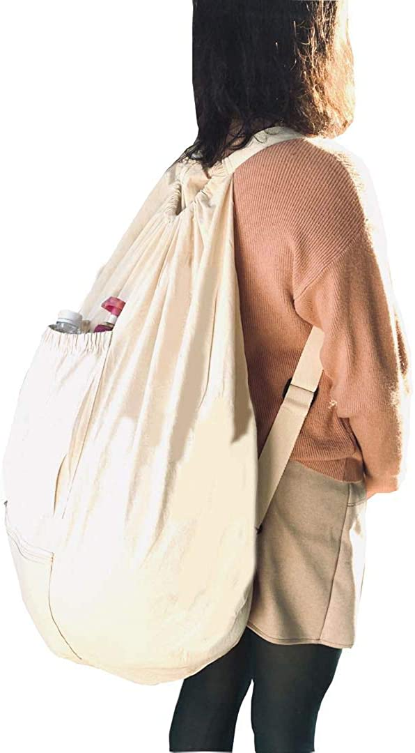 SHONPY Laundry Backpack bag with Drawstring and zip and shoulder strap, Beige (beige)