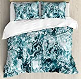 Ambesonne Marble Duvet Cover Set King Size, Abstract Rock Texture Modern Stylized Retro Splashes Antique Dark Design, Decorative 3 Piece Bedding Set with 2 Pillow Shams, Jade Green Teal White