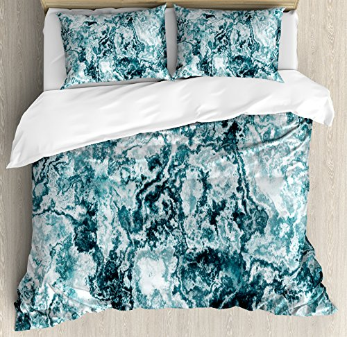Retro Modern Design - Ambesonne Marble Duvet Cover Set King Size by, Abstract Rock Texture Modern Stylized Retro Splashes Antique Dark Design, Decorative 3 Piece Bedding Set with 2 Pillow Shams, Jade Green Teal White