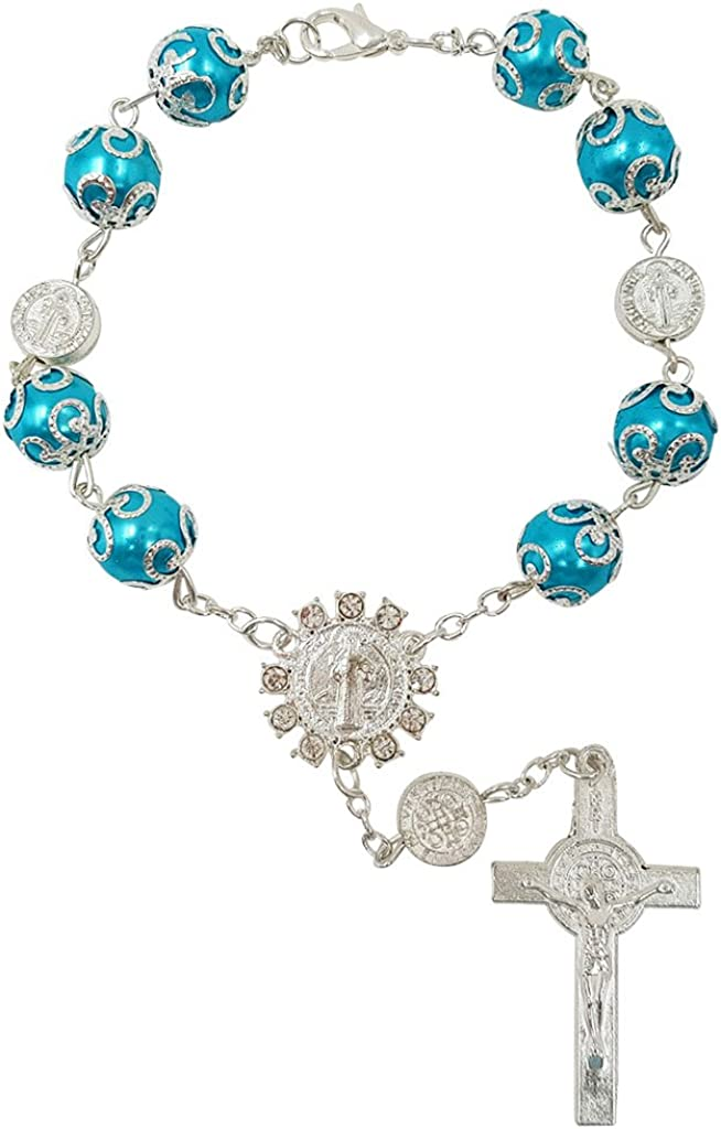 One Decade Auto Rosary Beads Catholic Bracelet Saint St Benedict Crucifix Divine Mercy Gift