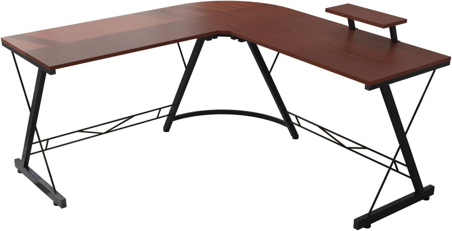 Corner Side L Shaped Table, Home Office Computer Desk with Small Desktop Shelf, Study Writing Desk with Round Fillet Edge, Desks for SOHO/Workstation, Gaming Workstation with Monitor Stand (Teak)