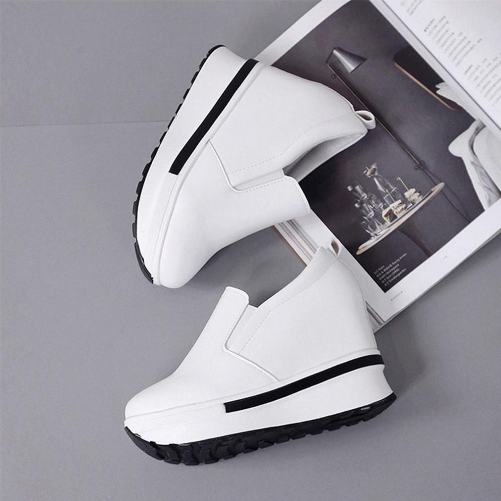 ¡Promoción grande! ¡Liquidación de Covermason! Zapatos planos de las mujeres Zapatos planos sólidos del dedo del pie redondo(38 EU, Blanco)