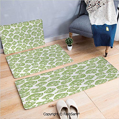 3 Piece Fashion Flannel Door Mat Carpet Sketch of Super Food Vegetables in Hand Drawn Style Nutritious Food Artwork Decorative for Door Rugs Living Room(W15.7xL23.6 by W19.6xL31.5 by W31.4xL47.2) ()