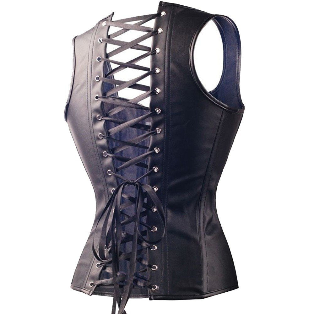 b46c6107d Kiwi-Rata Women s Faux Leather Buckle Up Front Black Steampunk Overbust  Corset Gothic Bustier Plus Size S-6X  Amazon.co.uk  Clothing