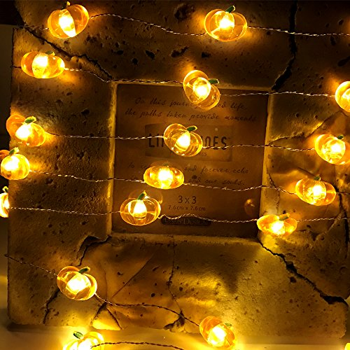 Jack-O-Lantern Orange Pumpkin String Lights - 10ft 40LEDs Long Battery Operated Copper Wire With the Remote & Timer for Indoor/Covered Outdoor/Autumn Parties & Home/Dorm Room Decorations by MIYA LIFE (Image #7)