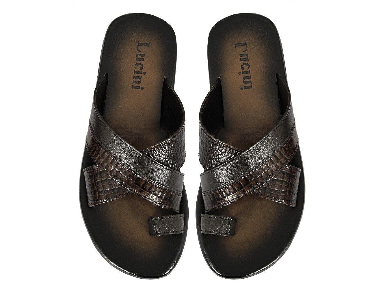 5d66cf2a30e Lucini KAI Mens Leather Mule Sandals Brown UK 12  Amazon.co.uk  Shoes   Bags