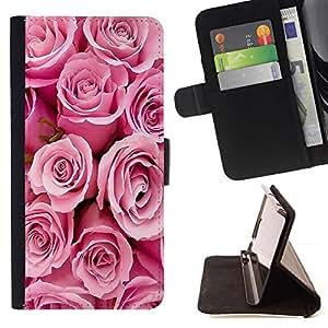 For HTC One M7 Case , Roses Valentines Love Pink primavera Novia- la tarjeta de Crédito Slots PU Funda de cuero Monedero caso cubierta de piel