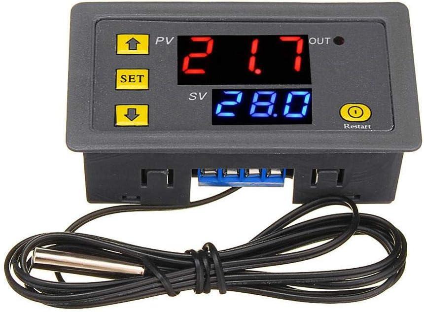 Calistouk W3230 DC 12V 24V 110V-220V AC Controlador de temperatura digital Pantalla LED Termostato con sensor de control de calefacción y refrigeración