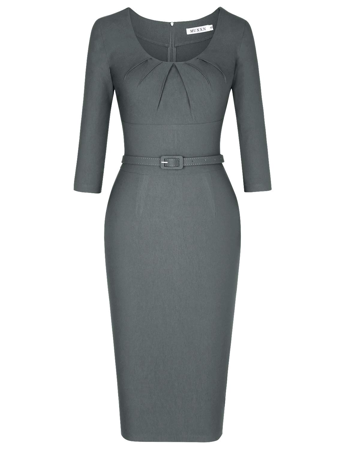 MUXXN Womens Audrey Hepburn 1940s Style Empire Waist Sheath Pencil Dress (Gray M) by MUXXN
