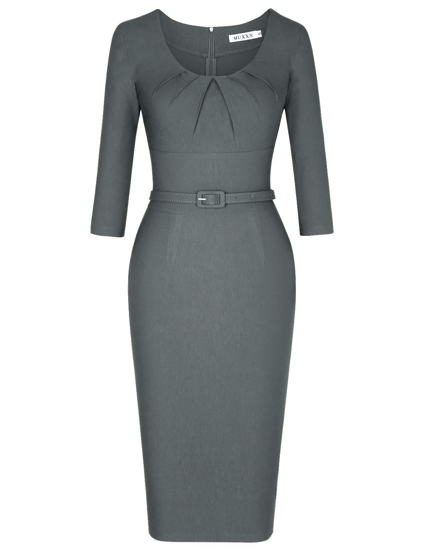 MUXXN Womens Audrey Hepburn 1940s Style Empire Waist Sheath Pencil Dress (Gray M)