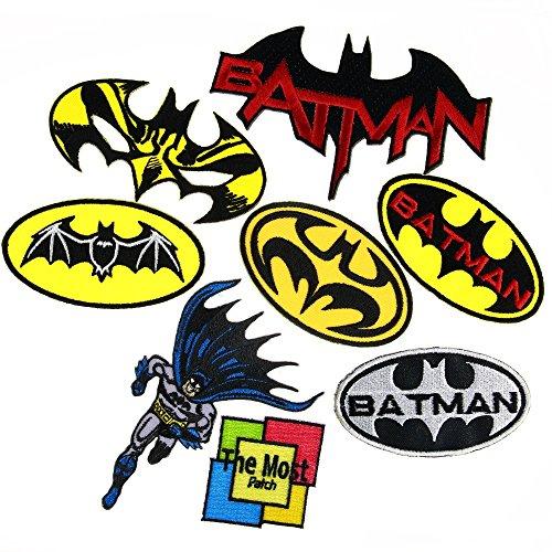 [Lot of 8 (7+1) Batman SuperHero Movies Comics Cartoon Logo Embroidered Iron / Sew On Patch] (Wood Costumer)