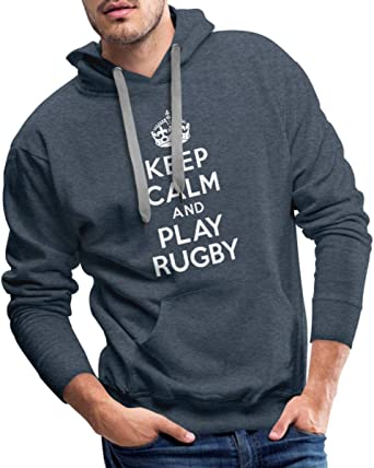 Keep Calm and Play Rugby Sweat Shirt à Capuche Premium pour Hommes