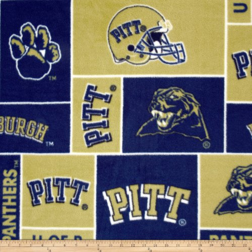 Sykel Enterprises Collegiate Fleece University of Pittsburgh Fabric By The Yard, Gold/Red/Black