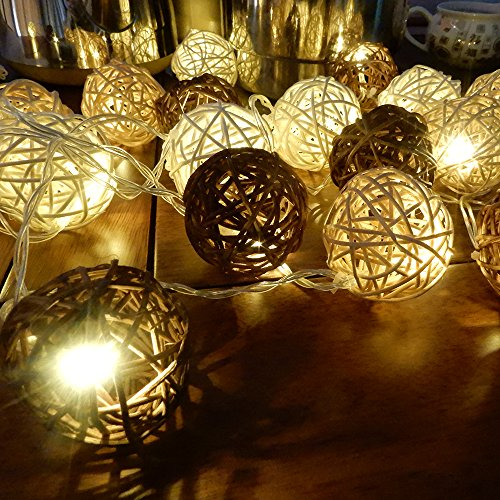 LED Rattan Ball Fairy Lights with White And Brown Low voltage power (Lights Ball Rattan Set 10 String)