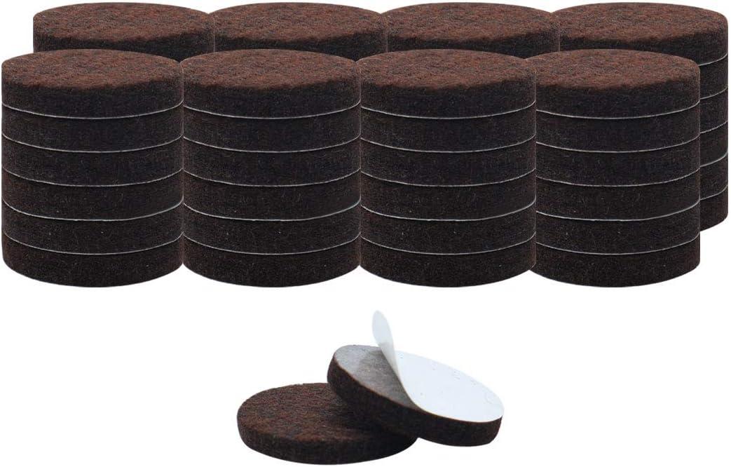 "uxcell 50pcs Furniture Pads Round 1 1/2"" Self-stick Non-slip Anti-scratch Felt Pads Floors Protector Dark Brown"