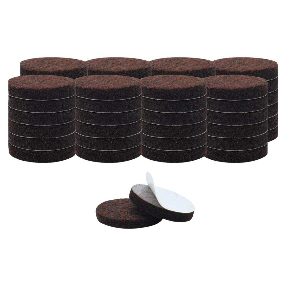 uxcell 50pcs Furniture Pads Round 1 1/4 inches Self-stick Non-slip Anti-scratch Felt Pads Floors Protector Dark Brown
