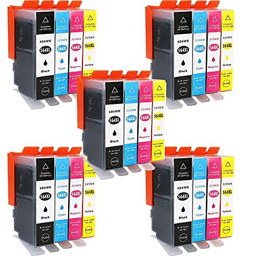 wolfgray 20Pack cartucho de tinta compatible de repuesto para HP 564X L 564XL (5Negro, 5Cian, 5magenta,...