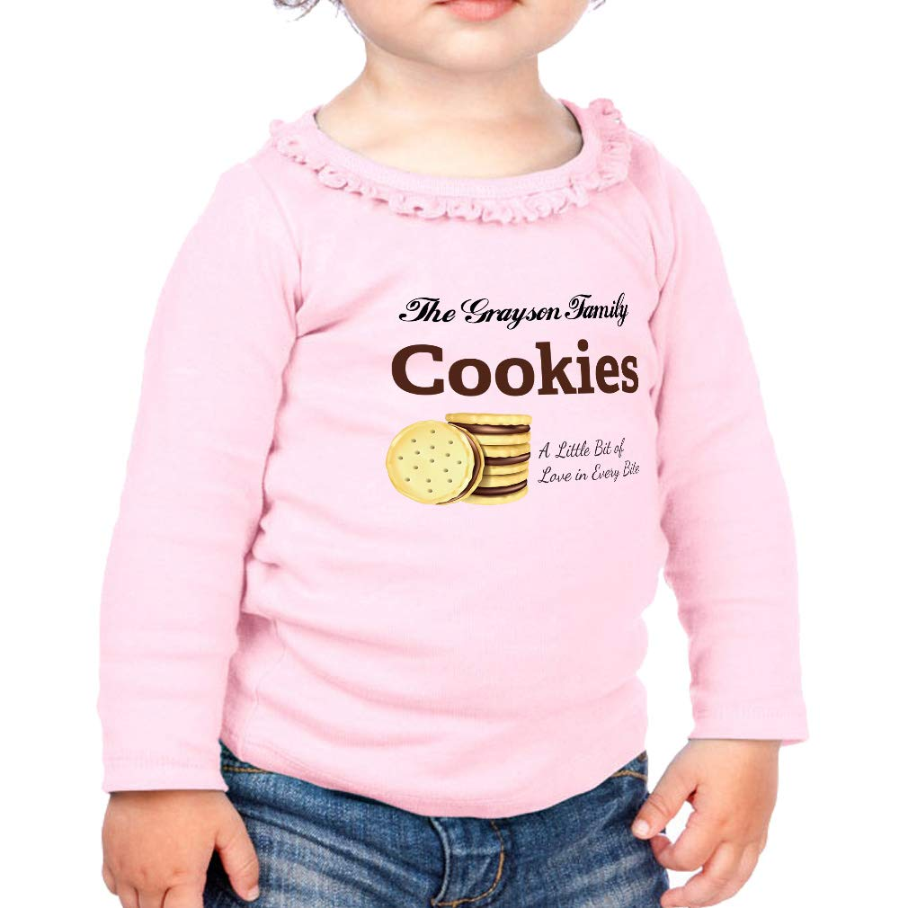 Personalized Chocolate Cookies Cotton Toddler Long Sleeve Ruffle Shirt Top