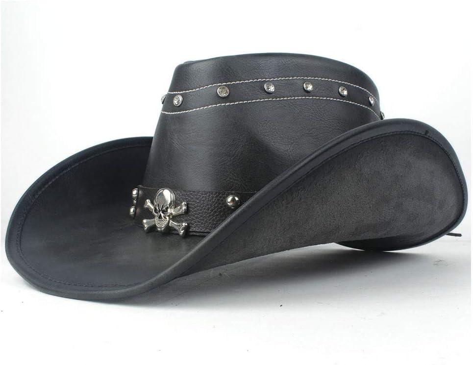 UKLLYY 100/% Leather Women Men Black Western Cowboy Hat With Roll Up Brim Punk Belt Jazz and Sombrero Cap Dad Hat Size 58-59CM Vintage Color : Black, Size : 58-59cm