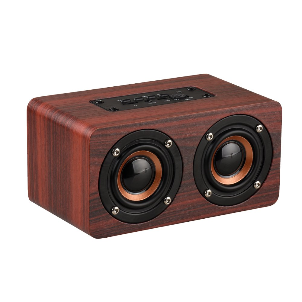 HappyFly Portable Wireless Wooden Bluetooth Speaker with Enhanced Bass Resonator,Support Hands-free Calling & TF Card & High Definition Audio, Works with Outdoor, Home Office (Red)