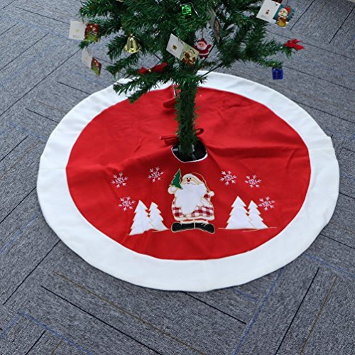 "Christmas Tree Skirt 36"" Decoration White Fur & Red Santa Claus for Home, Outdoor - No Santa Toddler Shirt"