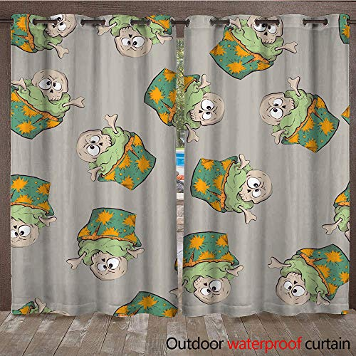 WinfreyDecor Outdoor Balcony Privacy Curtain Seamless Halloween Party Pattern Wrapping with Decorations W84 x L108