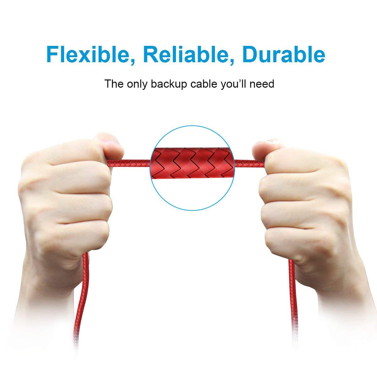 i-Tronixs L Shape Red Fabric Braided Charging Cord USB Data Sync Powerline Durable Cable For For Fairphone 2 3 Meters Right Angle 90 Degree