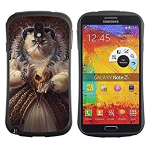 Hybrid Anti-Shock Bumper Case for Samsung Galaxy Note 3 / Queen Cat Painting
