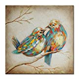 SEVEN WALL ARTS - 100% Hand Painted Oil Painting Animal Colorful Birds Painting with Stretched Frame Wall Art for Home Decor Ready to Hang Gift for Father's Day (24 x 24, Quirky Birds)