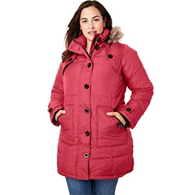 62a0b70976c Woman Within Plus Size Hooded Down Heathered Puffer Coat - Strawberry Red  Heather