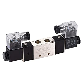 Woljay Pneumatic Double Solenoid Air Valve 3V120-06 AC 110V PT 1//8 2 Position 3 Way Normally Closed