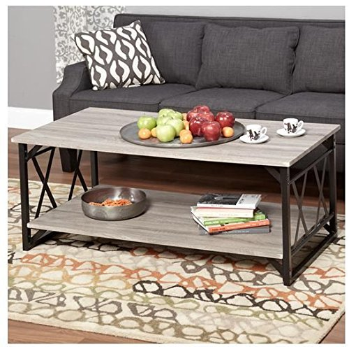 Cheap Coffee Table. This piece of living room furniture brings stability and is attractive. This decor is contemporary, rustic and sophisticated. Provides storage shelf and metal frame. Perfect end table, gray wood decoration. Beautiful home guaranteed.