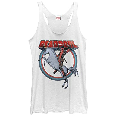 5be266a053623e Amazon.com  Marvel Women s Deadpool Rides Unicorn Racerback Tank Top ...