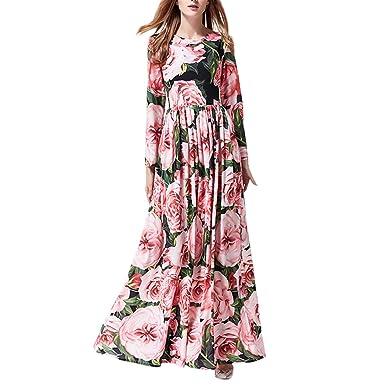 64b102f8a3e2 Women Rose Floral O-Neck High Waist Boho Long Sleeve Swing Maxi Elegant  Dress at Amazon Women's Clothing store: