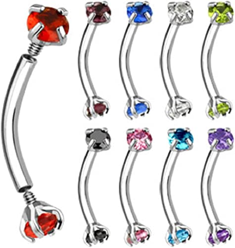 1x Matte Black IP 316L Surgical Steel Eyebrow Curved Barbell With Assorted Gems