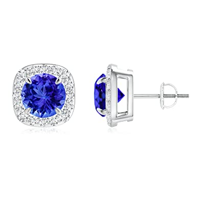 Angara Claw-Set Tanzanite and Diamond Halo Stud Earrings in Platinum KUds3zQw9