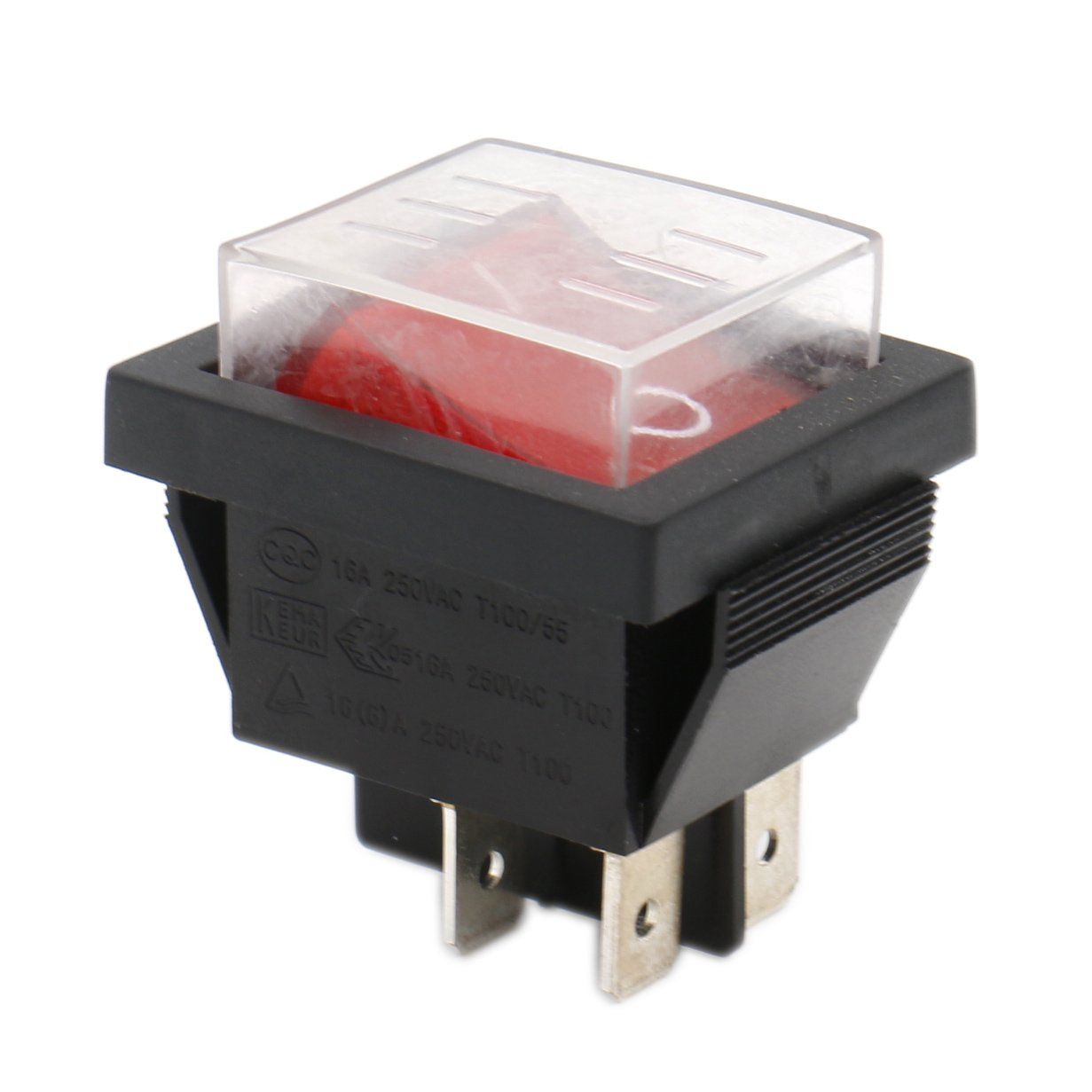 Heschen Rocker Switch ON-OFF DPST 4 Terminals Red Light 16A 250VAC with Waterproof Cover Ningbo Master Soken Electrical Co.Ltd RK1-01-HS-P