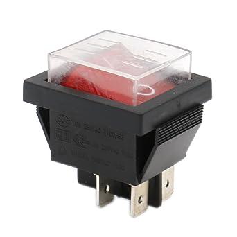 Heschen Rocker Switch ON-OFF DPST 4 Terminals Red Light 16A 250VAC ...