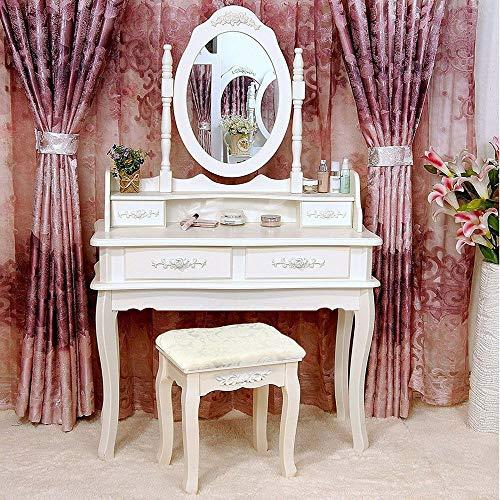 Vanity Table Solid Wood Makeup Dressing Table Set Durable Compact Stool 4 Drawer Mirror Elagant Bedroom Jewelry Desk
