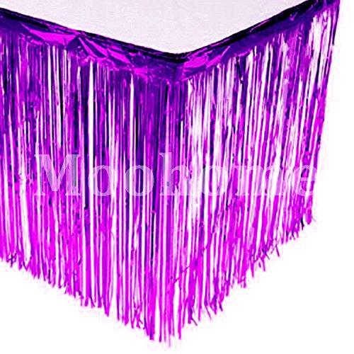 Moohome Metallic Foil Fringe Purple Table Skirt 9ft. x 29inch Tinsel Party Table Skirt 108