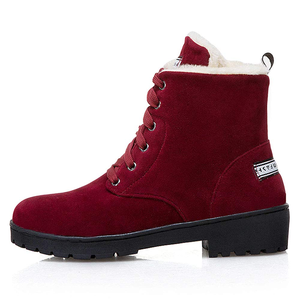 TAOFFEN Women Casual Low Heel Ankle Boots Lace Up