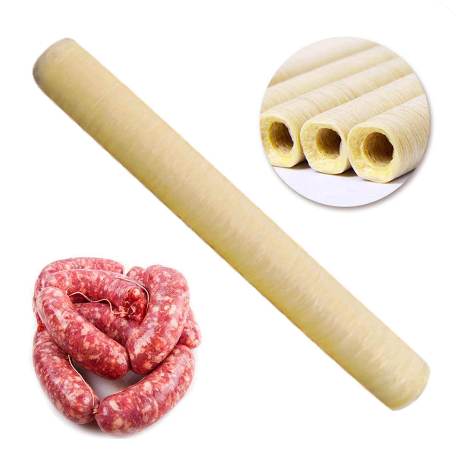 Liteness (14M X 20MM) Sausage Casing Ham Hot Dog Collagen Casing Wrappinging, Edible Drying Sausage Casing Collagen Sausage Casings For Flavorous Homemade Sausages Ham Soy Protein Casing Durable