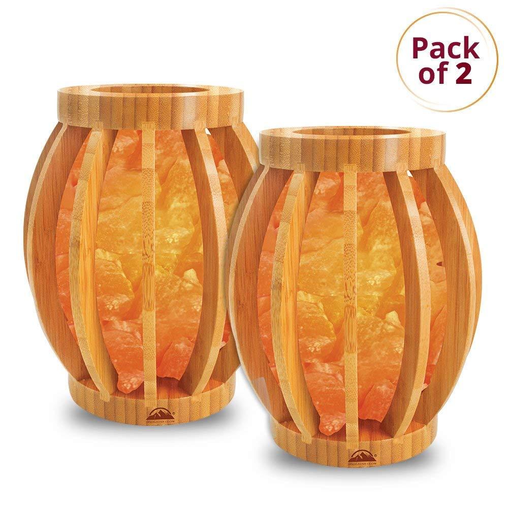 Himalayan Glow Bamboo Basket Night Light with Pink Salt Chunks, 2-Pack