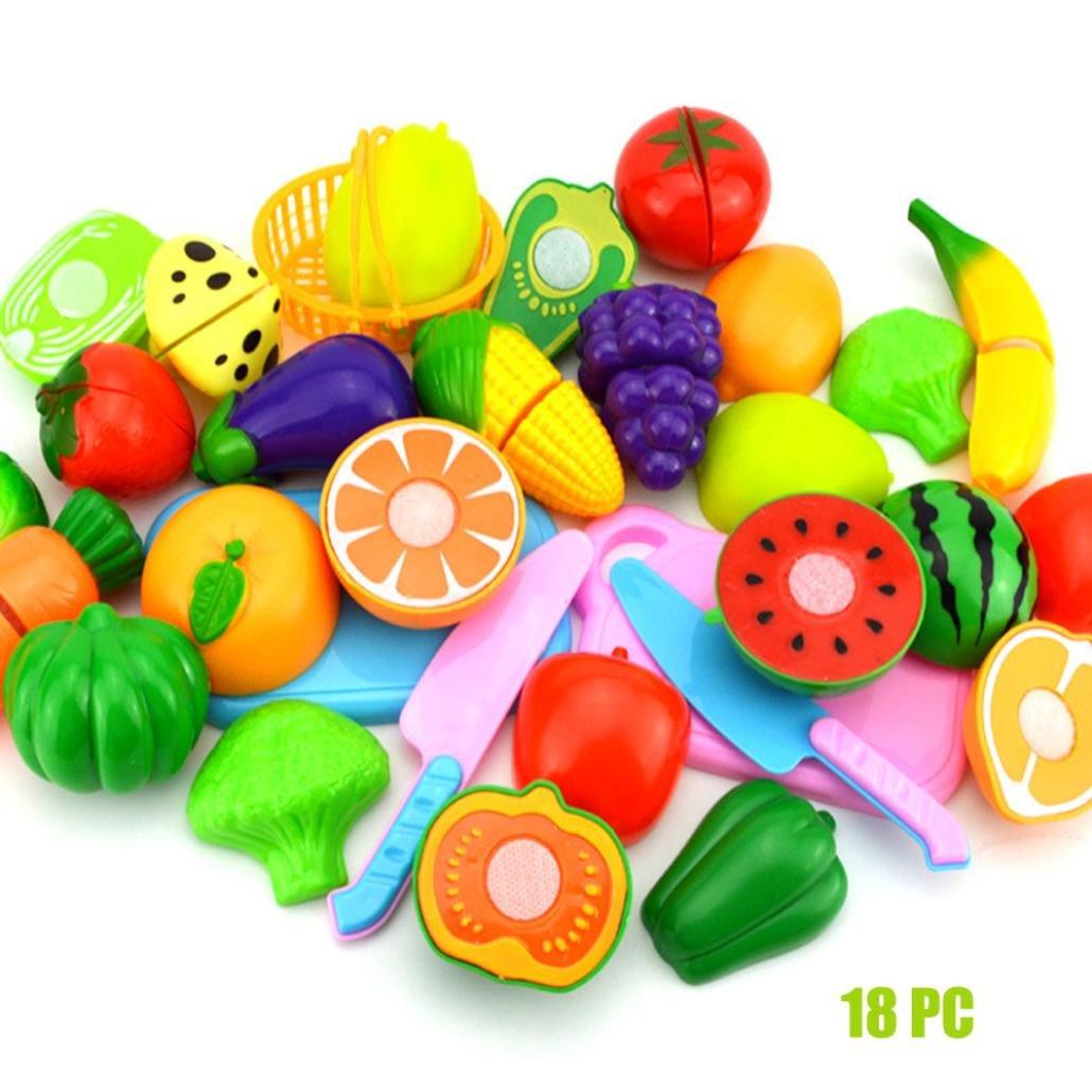 Covermason Jeu d'imitation, Jouet Alimentaire Plastic Fruit Vegetable Cuisine Cutting Jouets Set Enfants Jouets (12Pcs)