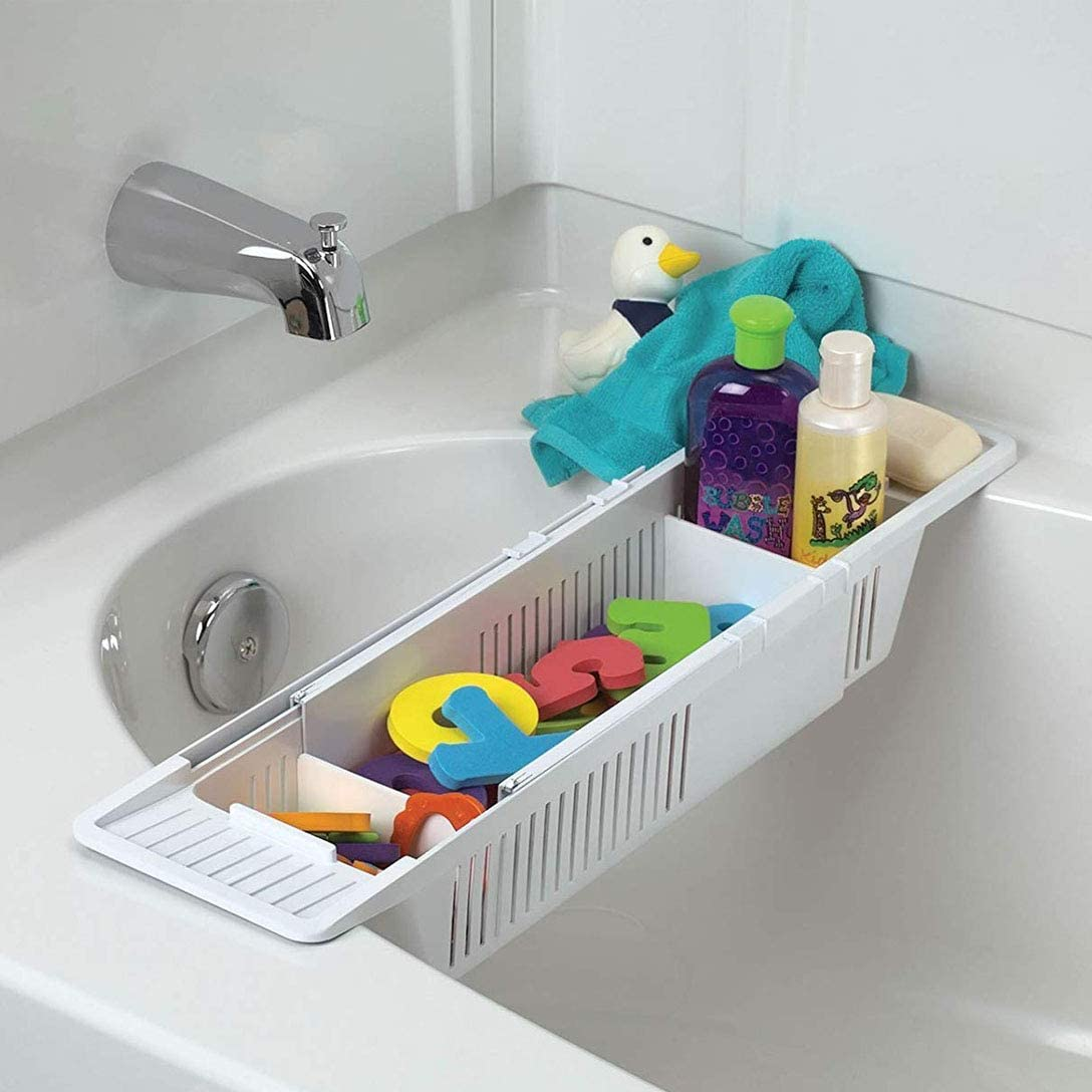 HomDSim Kunststoff-Badewannen-Halterung, rutschfest,  Teleskop-Badewannen-Ablage, verstellbar, multifunktional, für Badezimmer,  Weiß, 9 x 9 x 9 cm