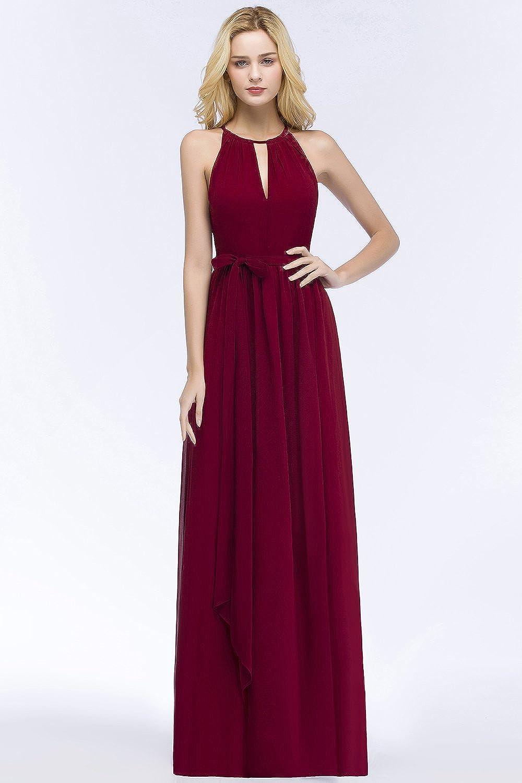 MisShow Damen Elegant Unregelmäßig Brautjungfern Kleid Neckholder Chiffon  Abendkleid Maxilang 12-12