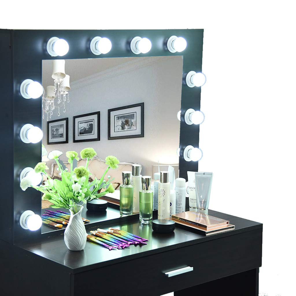 1 Sliding Drawers 1 Cushioned Stool for Bedroom Black Quality/_hj Makeup Vanity Dressing Table Dresser Desk with Mirror 12 Cool LED Bulbs Vanity Set with Lighted Mirror