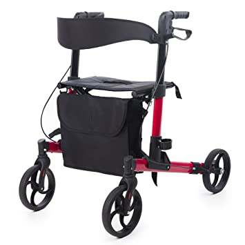 ELENKER Folding Rollator Walker Compact Rolling Walker with Seat and Bag Red